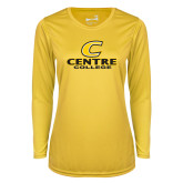 Ladies Syntrel Performance Gold Longsleeve Shirt-C Centre College