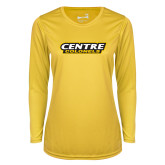 Ladies Syntrel Performance Gold Longsleeve Shirt-Centre Colonels Wordmark