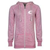 ENZA Ladies Hot Pink Marled Full Zip Hoodie-C Primary Mark