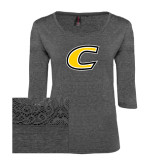 Ladies Charcoal Heather Tri Blend Lace 3/4 Sleeve Tee-C