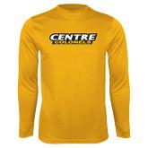 Performance Gold Longsleeve Shirt-Centre Colonels Wordmark
