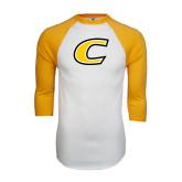 White/Gold Raglan Baseball T-Shirt-C