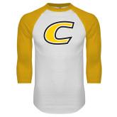 White/Gold Raglan Baseball T Shirt-C Primary Mark