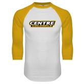 White/Gold Raglan Baseball T Shirt-Centre Colonels Wordmark