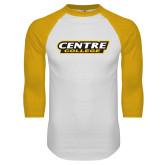 White/Gold Raglan Baseball T Shirt-Centre College School Mark
