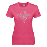 Ladies Fuchsia T Shirt-Colonel Head Crystal Rhinestones