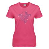 Ladies Fuchsia T Shirt-Colonel Head Fuchsia Rhinestones