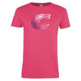 Ladies Fuchsia T Shirt-C Primary Mark Foil