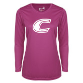 Ladies Syntrel Performance Raspberry Longsleeve Shirt-C Primary Mark