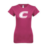 Ladies SoftStyle Junior Fitted Fuchsia Tee-C