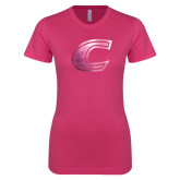 Ladies SoftStyle Junior Fitted Fuchsia Tee-C Primary Mark Foil