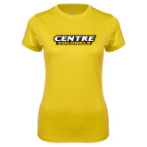 Ladies Syntrel Performance Gold Tee-Centre Colonels Wordmark