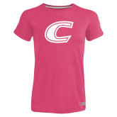 Ladies Russell Pink Essential T Shirt-C Primary Mark