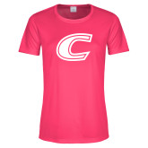 Ladies Performance Hot Pink Tee-C Primary Mark