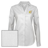 Ladies Red House Diamond Dobby White Long Sleeve Shirt-C Primary Mark