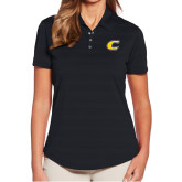 Ladies Callaway Horizontal Textured Black Polo-C Primary Mark