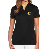 Ladies Callaway Tulip Sleeve Black Zip Polo-C Primary Mark
