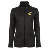 Black Heather Ladies Fleece Jacket-C Primary Mark