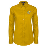Ladies Gold Twill Button Down Long Sleeve-C Primary Mark
