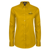 Ladies Gold Twill Button Down Long Sleeve-C Centre College
