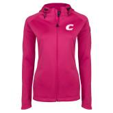 Ladies Tech Fleece Full Zip Hot Pink Hooded Jacket-C Primary Mark