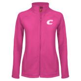 Ladies Fleece Full Zip Raspberry Jacket-C Primary Mark