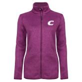 Dark Pink Heather Ladies Fleece Jacket-C Primary Mark