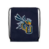 Navy Drawstring Backpack-CU with Yellow Jacket