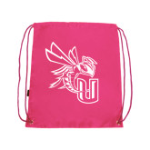 Pink Drawstring Backpack-CU with Yellow Jacket