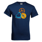 Navy T Shirt-Peace, Love, and Volleyball Design