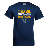 Navy T Shirt-Game Set Match Tennis Design
