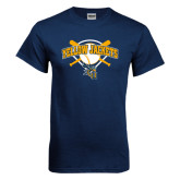 Navy T Shirt-Softball Bats and Plate Design