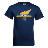 Navy T Shirt-Track and Field Side Shoe Design