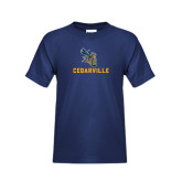 Youth Navy T Shirt-CU Cedarville with Yellow Jacket