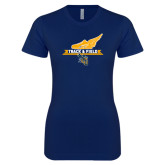 Next Level Ladies SoftStyle Junior Fitted Navy Tee-Track and Field Side Shoe Design