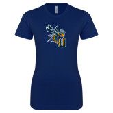 Next Level Ladies SoftStyle Junior Fitted Navy Tee-CU with Yellow Jacket