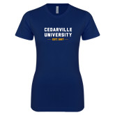 Next Level Ladies SoftStyle Junior Fitted Navy Tee-Cedarville University EST. 1887