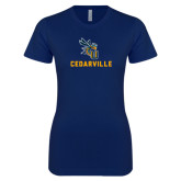 Next Level Ladies SoftStyle Junior Fitted Navy Tee-CU Cedarville with Yellow Jacket