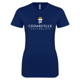 Next Level Ladies SoftStyle Junior Fitted Navy Tee-Cedarville University