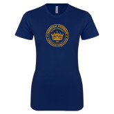 Next Level Ladies SoftStyle Junior Fitted Navy Tee-Cedarville University Seal