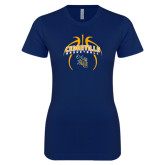 Next Level Ladies SoftStyle Junior Fitted Navy Tee-Basketball In Ball Design