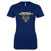 Next Level Ladies SoftStyle Junior Fitted Navy Tee-Basketball Stacked Design