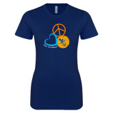 Next Level Ladies SoftStyle Junior Fitted Navy Tee-Peace, Love, and Volleyball Design