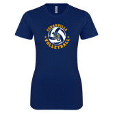 Next Level Ladies SoftStyle Junior Fitted Navy Tee-Volleyball Stars Design