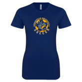 Next Level Ladies SoftStyle Junior Fitted Navy Tee-Soccer Circle Design