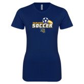 Next Level Ladies SoftStyle Junior Fitted Navy Tee-Soccer Swoosh Design