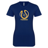 Next Level Ladies SoftStyle Junior Fitted Navy Tee-Tennis Ball Design