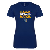 Next Level Ladies SoftStyle Junior Fitted Navy Tee-Game Set Match Tennis Design