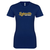 Next Level Ladies SoftStyle Junior Fitted Navy Tee-Softball Design