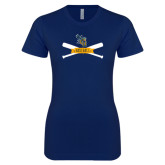 Next Level Ladies SoftStyle Junior Fitted Navy Tee-Baseball Bats Design